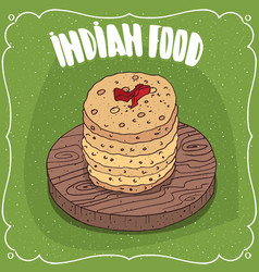 pile of indian round flatbread on wooden plate vector image vector image