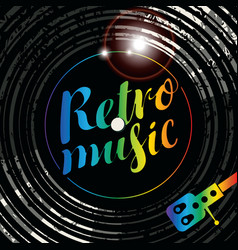 poster for the retro music with vinyl record vector image