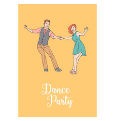 poster template with pair of young man and woman vector image vector image