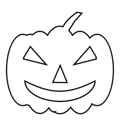 Pumpkin on halloween icon outline style vector image