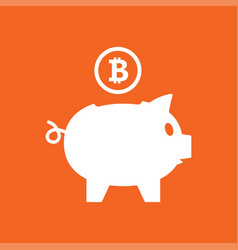 putting bitcoin into saving piggy bank vector image vector image