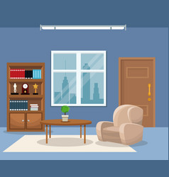 Room armchair table plant bookshelf trophy clock vector