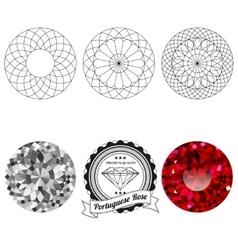 Set of portuguese rose cut jewel views vector image