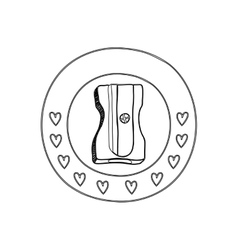 Silhouette circular border with hearts and pencil vector