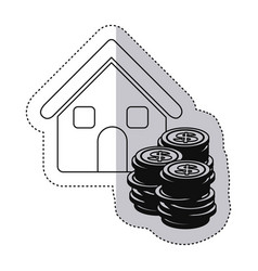 Sticker monochrome contour with house and stacking vector