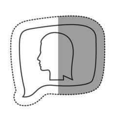 Sticker monochrome of rectangular speech with vector