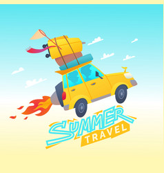 Summer travel with a flying vector