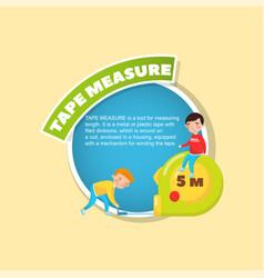 Tape measure tool description little boys using vector