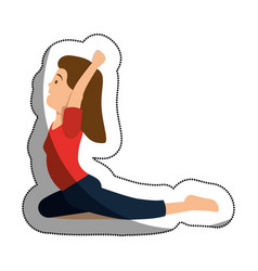 Woman athlete practicing yoga avatar character vector