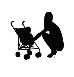 woman with baby silhouette one vector image vector image