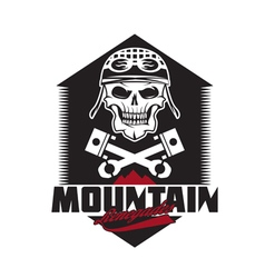 Mountain renegades vintage print with skull vector