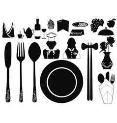 Set of restaurant object vector