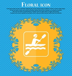 canoeing icon Floral flat design on a blue vector image