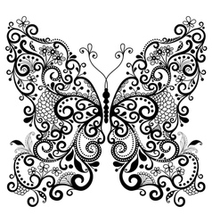 Fantasy lacy vintage butterfly vector