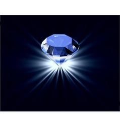 Blue diamond with reflection bright background vector image
