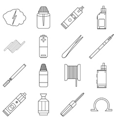 E-cigarettes tools icons set outline style vector