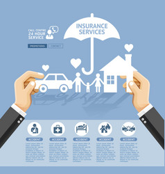 insurance policy services conceptual design hand vector image