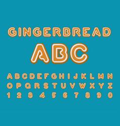 Gingerbread abc christmas cookie alphabet mint vector