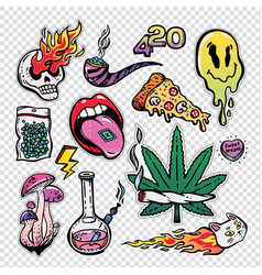 Fashion patch badges set with trippy drug theme vector