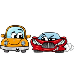 Old automobile and sports car cartoon vector