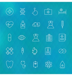 Medical and health care line icons set over vector