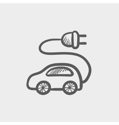 Electric car sketch icon vector