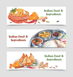 Indian food banners set vector