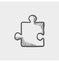 Jigsaw puzzle sketch icon vector