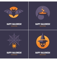 Four cards with halloween symbols vector
