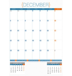 Calendar planner 2016 design template december vector