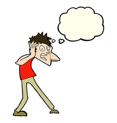 cartoon man panicking with thought bubble vector image