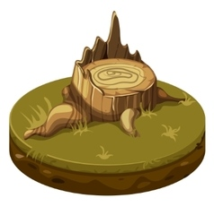 Tree stump at ground platform vector