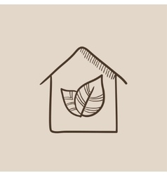 Eco-friendly house sketch icon vector