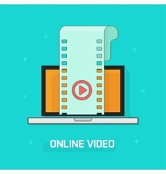 Laptop with video film strip play button vector