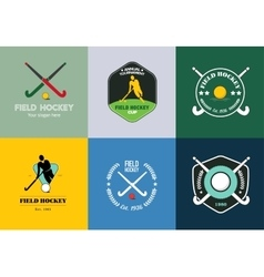 Field hockey logo set sport badges with vector