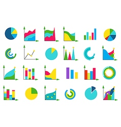 Isolated charts icons set vector