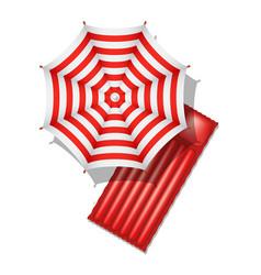 Beach umbrella and air mattress vector