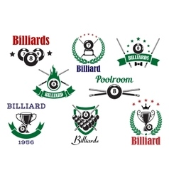 Billiards sports heraldic icons and elements vector