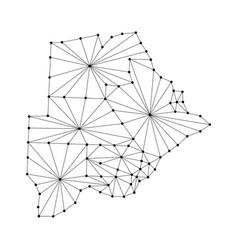 botswana map of polygonal mosaic lines network vector image vector image