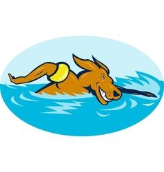 Cartoon dog swimming vector