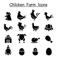 Chicken icon set vector