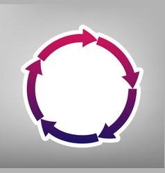 Circular arrows sign purple gradient icon vector