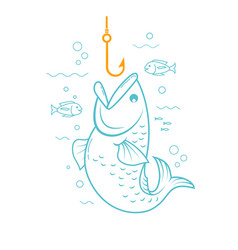 concept of fishing linear style vector image vector image