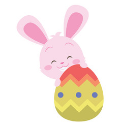 Cute bunny with easter egg design vector