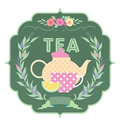 Decorative banner kettle and a cup of tea vector image vector image