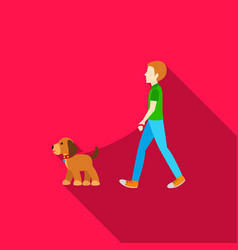 Dog walk icon in flat style for web vector