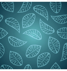 Elegant blue leaves seamless pattern vector image