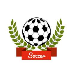 Emblem soccer game icon vector