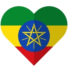 Ethiopia flat heart flag vector image vector image