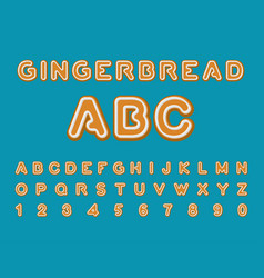 gingerbread abc christmas cookie alphabet mint vector image